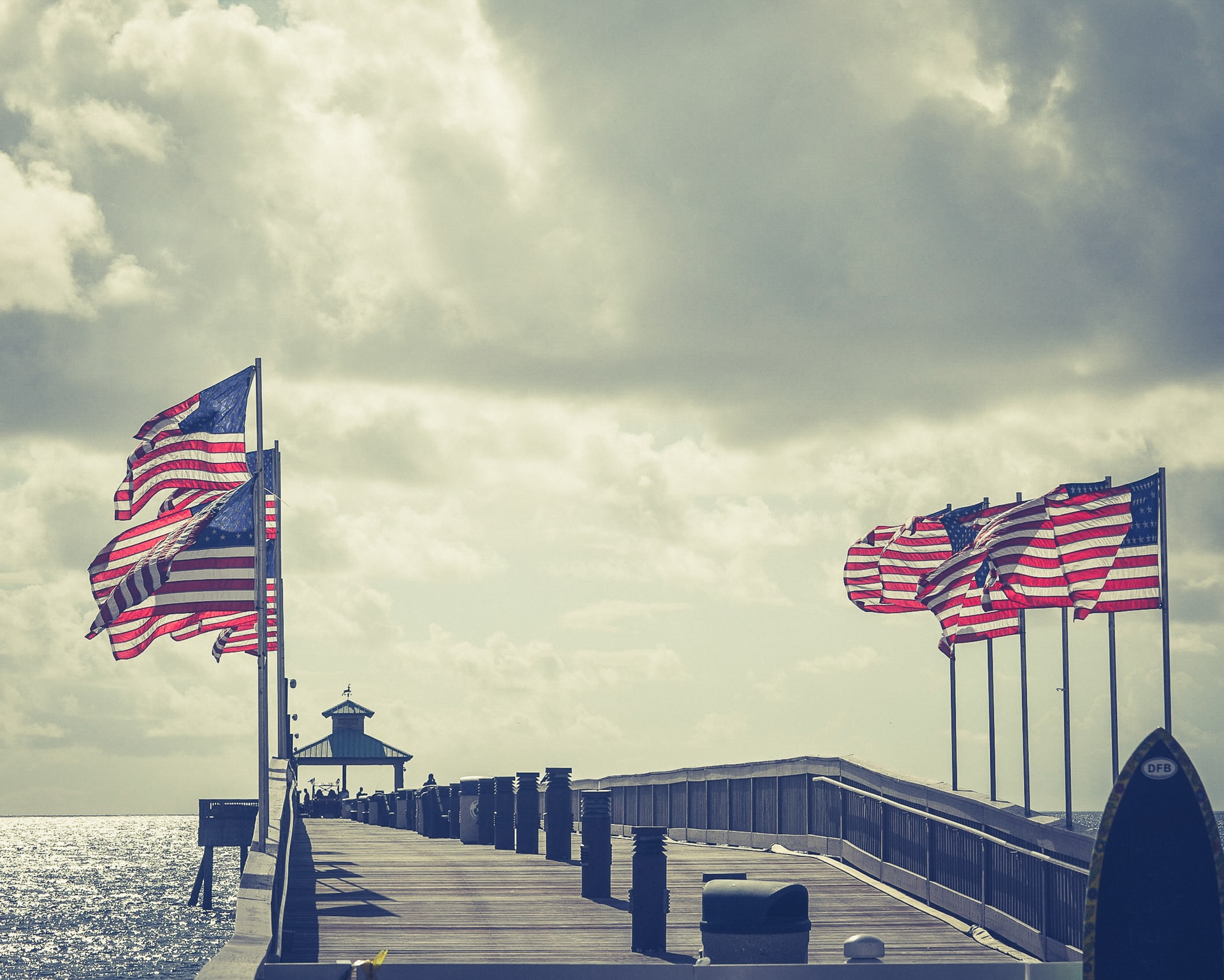 Flags on pier
